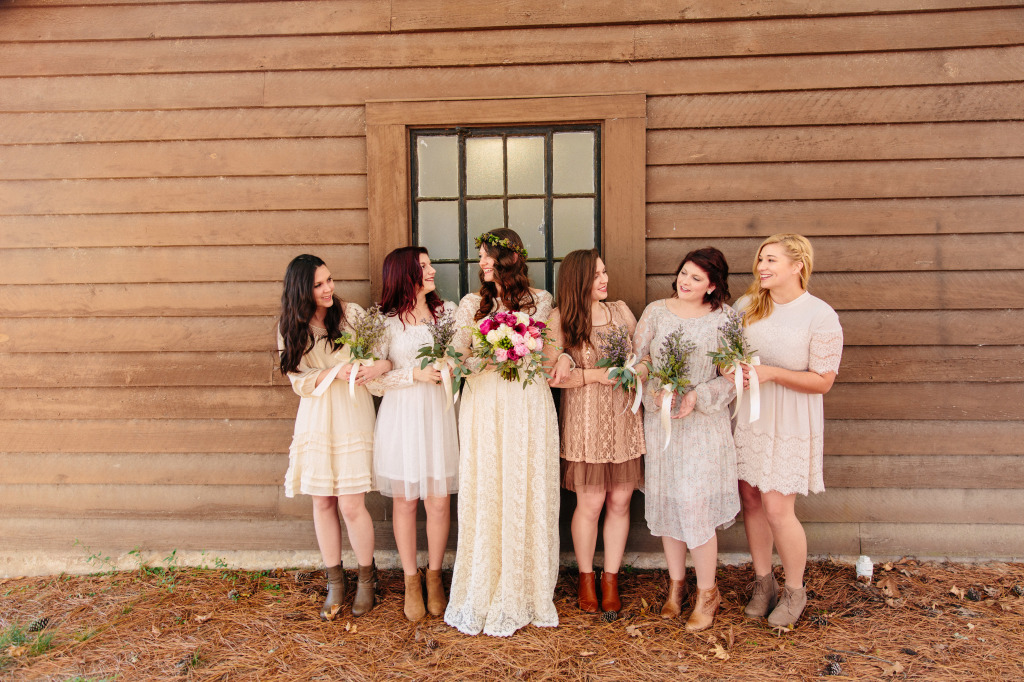 shannon-and-her-bohemian-bridesmaids-in-mismatched-dresses