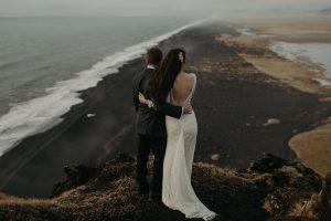 Bride-Noel-eloping-in-Iceland-wearing-Dreamers-and-Lovers-dotted-Vivienne-wedding-dress