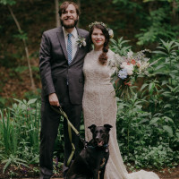 laid-back-bohemian-adventurous-bride-groom-and-dog-on-their-wedding-day
