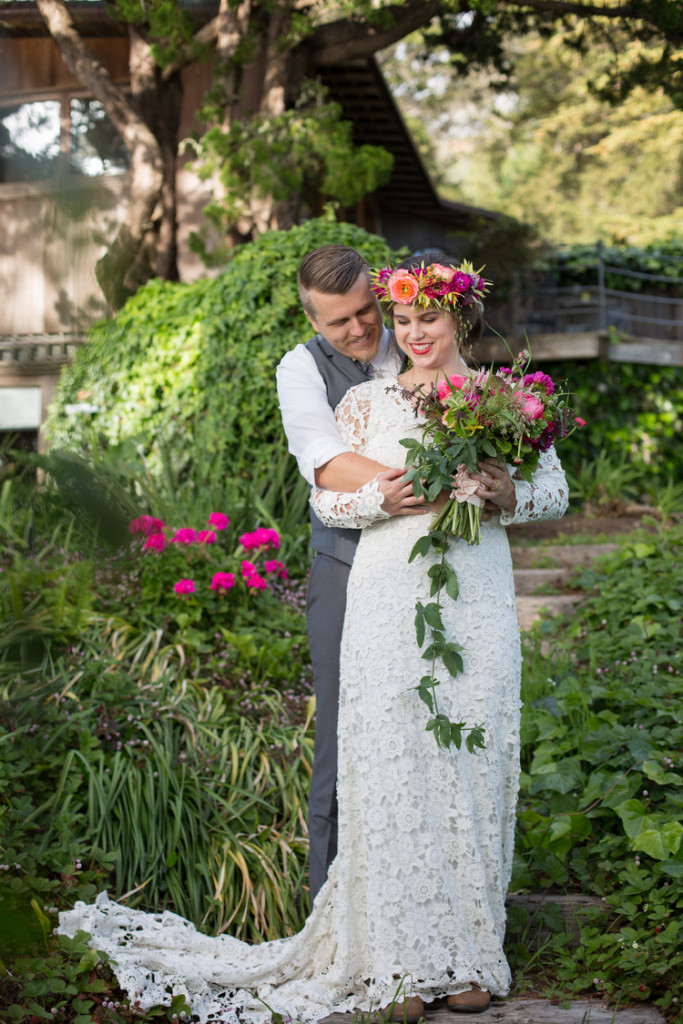 dreamy-bohemian-bride-and-groom-in-this-big-sur-colorful-bohemian-wedding-inspiration-wearing-dreamers-and-lovers-brigette-dress