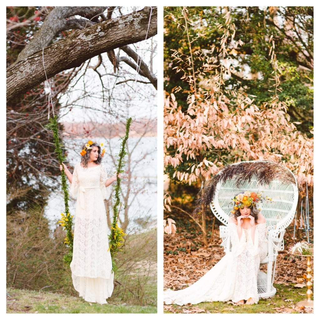 bohemian-bride-on-a-swing-wearing-a-dreamy-simple-wedding-dress