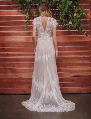 Azalea-off-white-cotton-lace-romantic-boho-wedding-dress-back-full-length-view