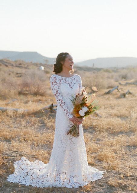 the-clover-open-back-long-sleeves-boho-wedding-dress-shot-in-palm-springs