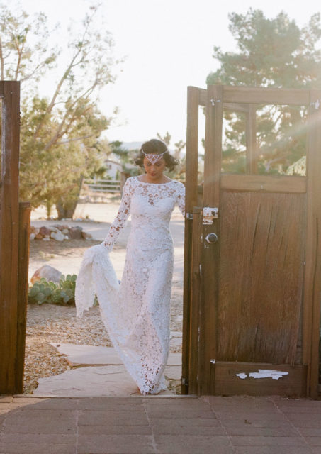 bohemian-wedding-inspiration-at-rimrock-ranch-in-palm-springs-featuring-a-long-sleeve-crochet-lace-wedding-gown
