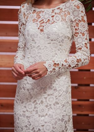 close-up-view-of-clover-long-sleeve-lace-dress
