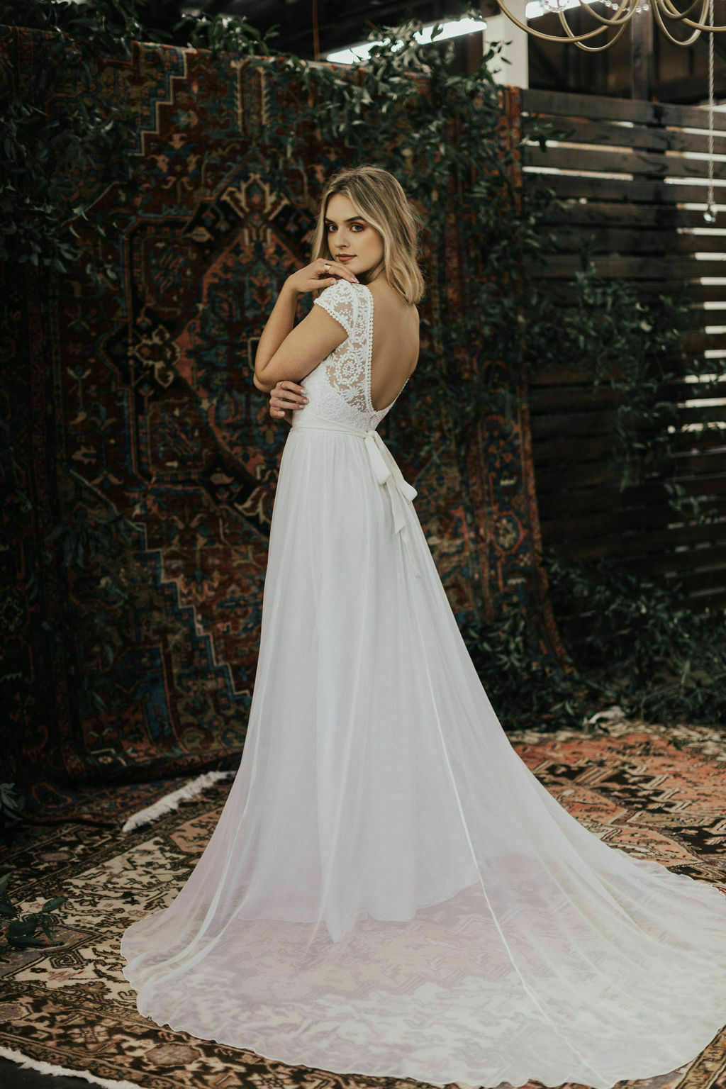 Natalie-mixed-lace-and-silk-wedding-dress-with-front-slit-and-waist-sash