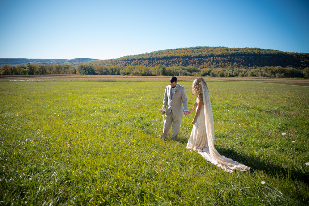diy-laidback-bohemian-wedding-at-a-barn-in-new-york-bride-wore-a-backless-lace-boho-wedding-dress