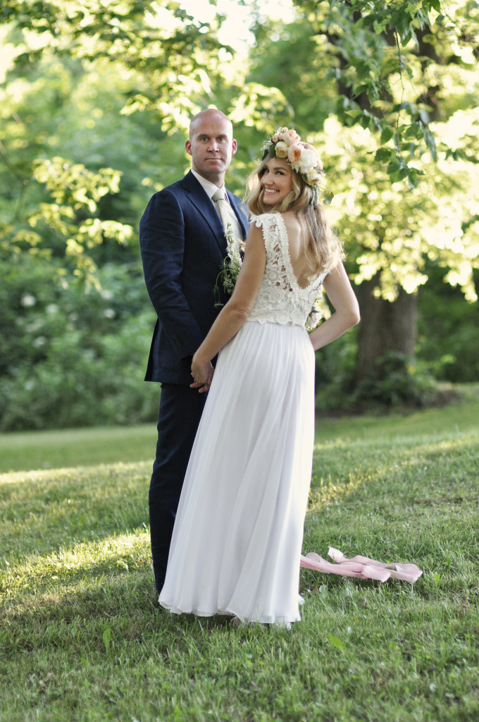 simple-elegant-bride-wearing-two-piece-lace-silk-wedding-dress-with-large-flower-crown