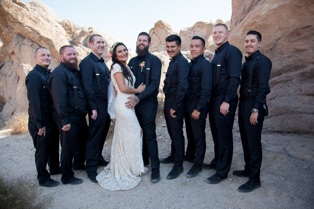 bohemian-wedding-party-groomsmen-and-groom-in-all-black