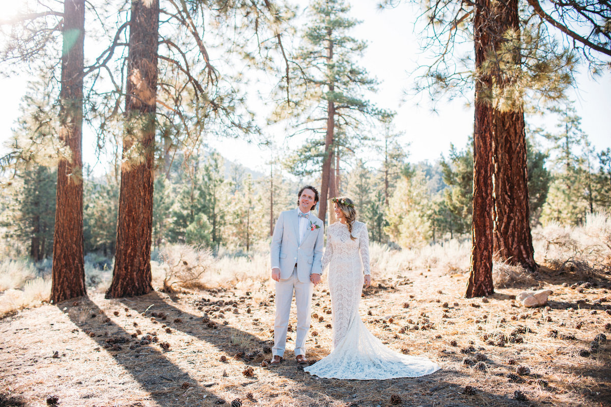 bride-amy-and-groom-nick-bohemian-wedding-in-big-bear-lake-she-wears-a-long-sleeve-boho-lace-wedding-dress