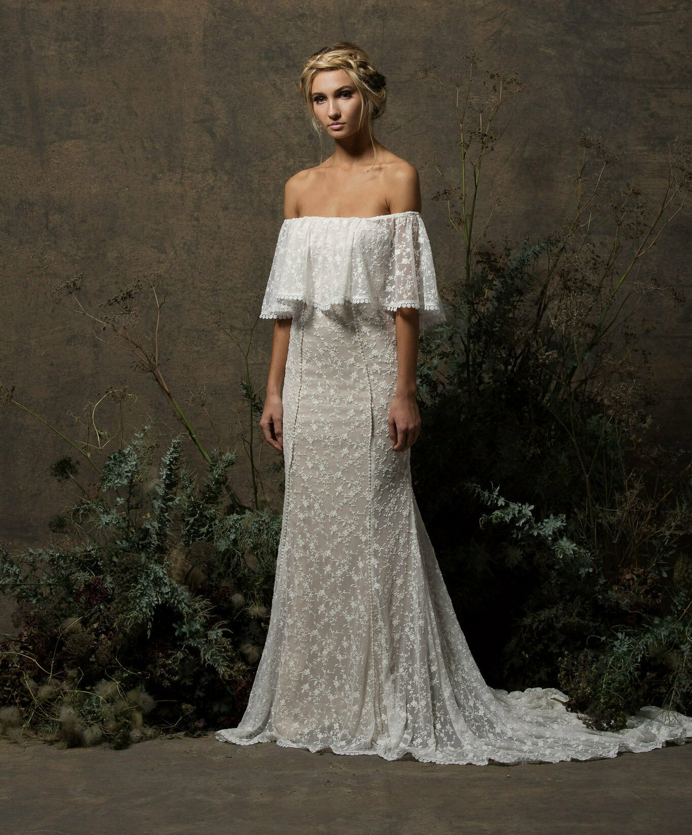 Lottie Off Shoulder Lace Wedding Dress