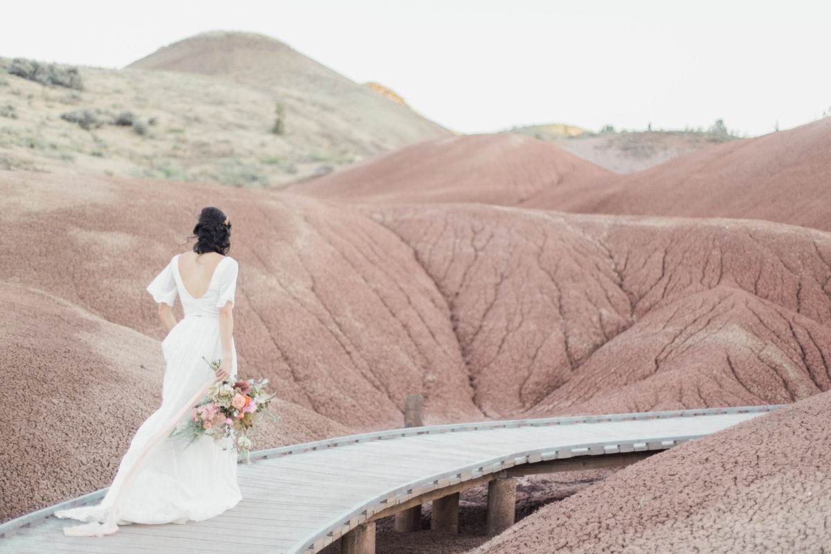 painted-hills-oregon-bohemian-wedding-inspiration-wearing-two-piece-wedding-dress