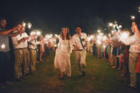 couple-exit-to-sparklers-bohemian-wedding-inspiration-set-in-Oklahoma
