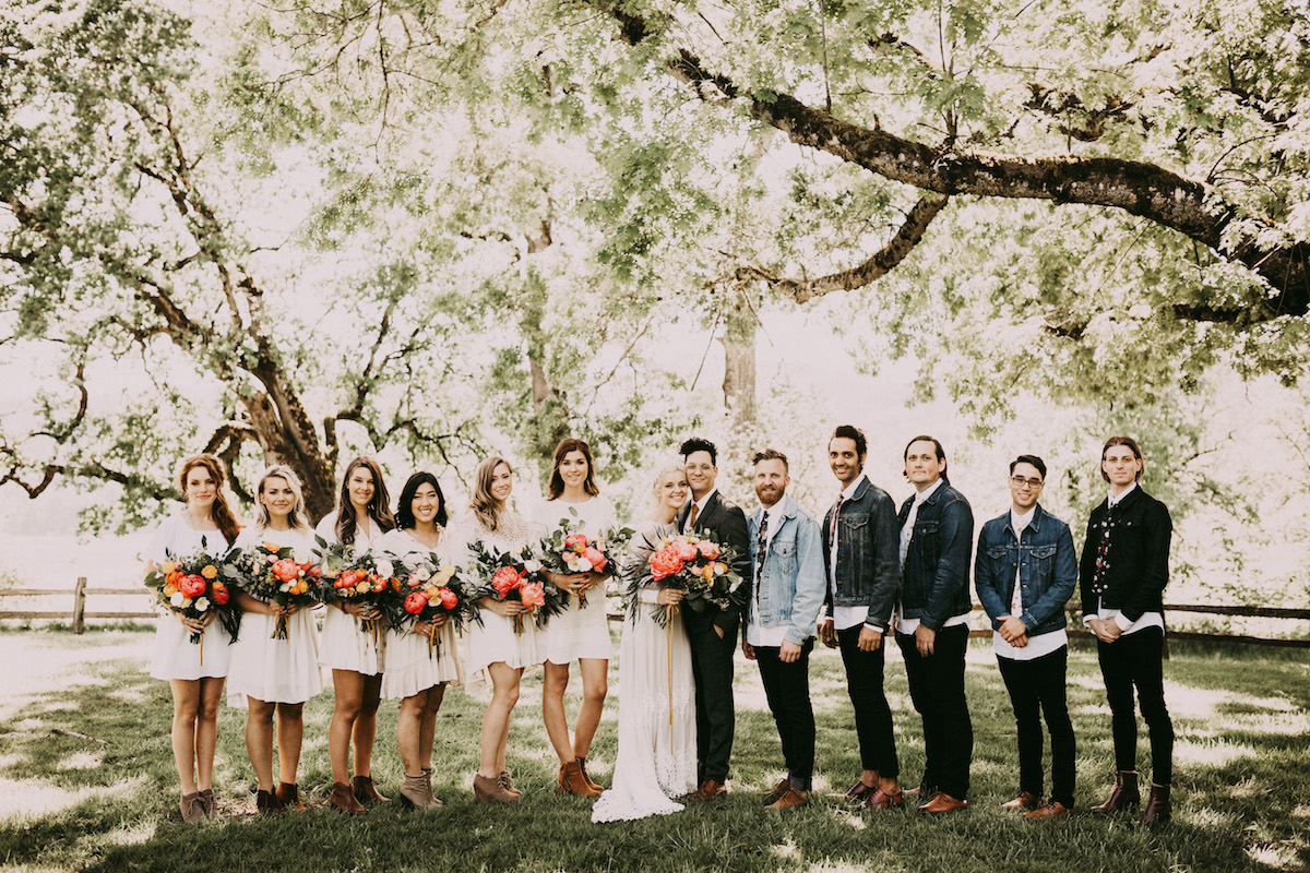 the-bridal-party-hipster-wedding-inspiration-bridesmaids-wearing-white-dresses