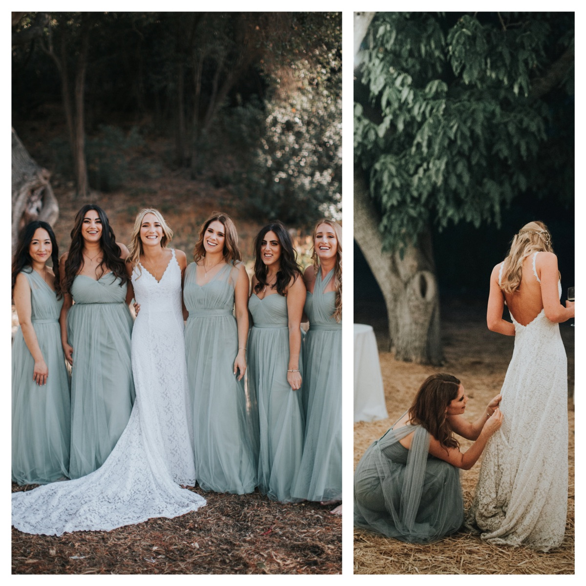 California-wedding-laidback-bride-with-her-bridesmaids-them-wearing-seafoam-and-her-in-a-lace-backless-bohemian-gown