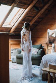 Bride Rachel Allyn wearing Kristen Lace dress