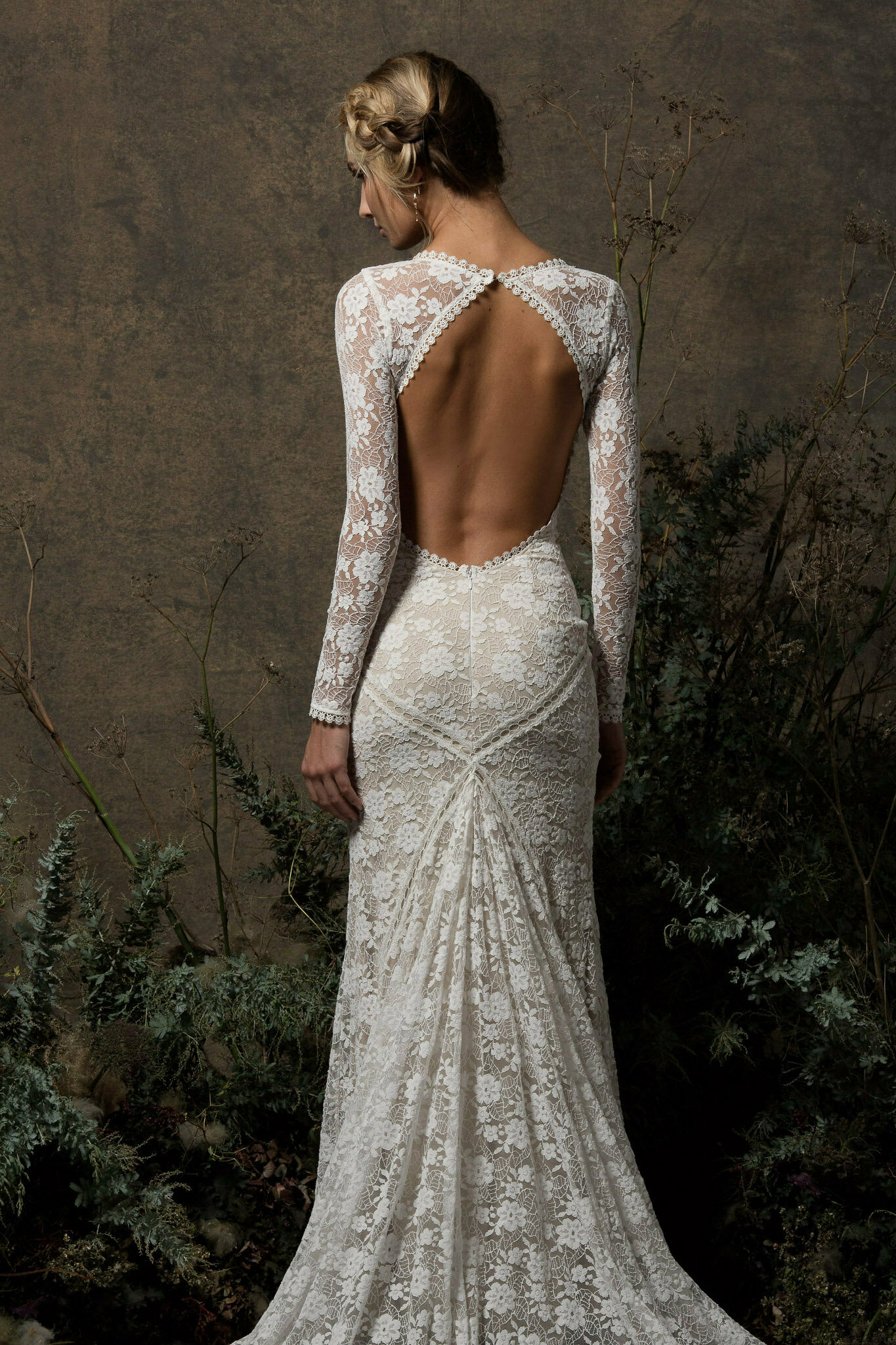Wedding Dress With Sleeves.Valentina Backless Lace Dress