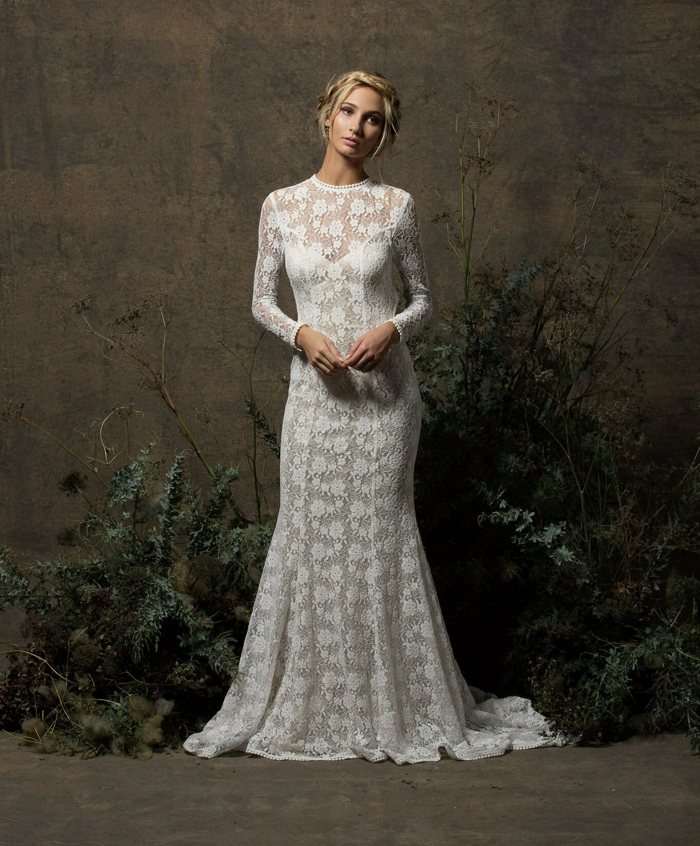 Kristen long sleeve lace wedding dress dreamers and lovers long sleeved off white lace dress with nude junglespirit Gallery