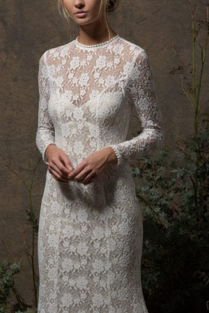 close-up-view-kristen-stretch-lace-bohemian-wedding-dress-with-sheer-long-sleeves