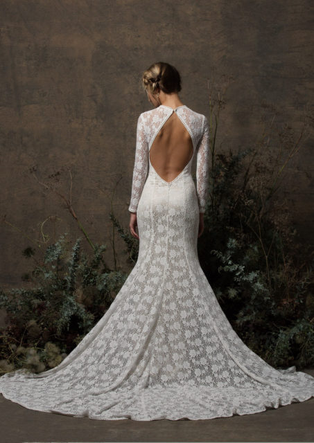 back-view-dreamers-and-lovers-long-sleeved-stretchy-lace-simple-wedding-dress-with-long-elegant-train