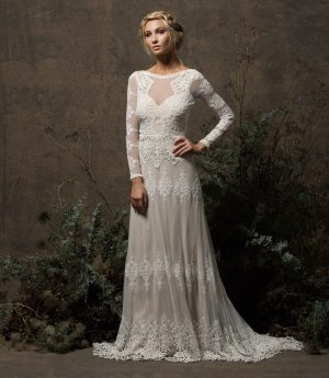 dreamers-and-lovers-bohemian-wedding-dress-the-aurora-gown-with-long-sleeves-open-back-and-crochet-trim