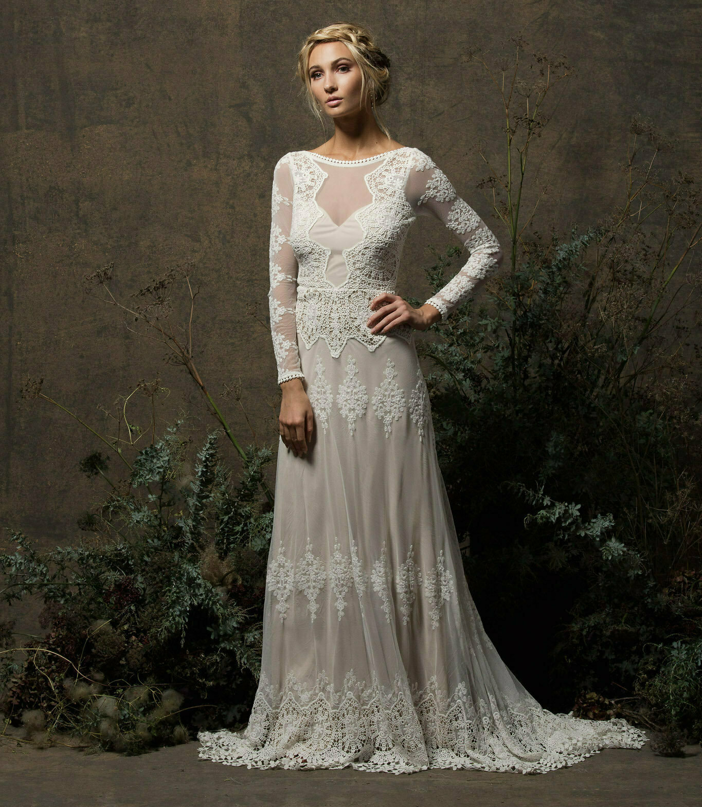 Aurora long sleeve lace wedding dress dreamers and lovers dreamers and lovers bohemian wedding dress the aurora junglespirit Choice Image