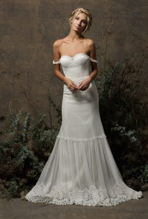 ivory-strapless-bohemian-wedding-dress-with-lace-panels-court-length-train