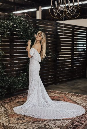 Dreamers-and-Lovers-off-white-lace-stretch-lace-off-the-shoulder-wedding-gown