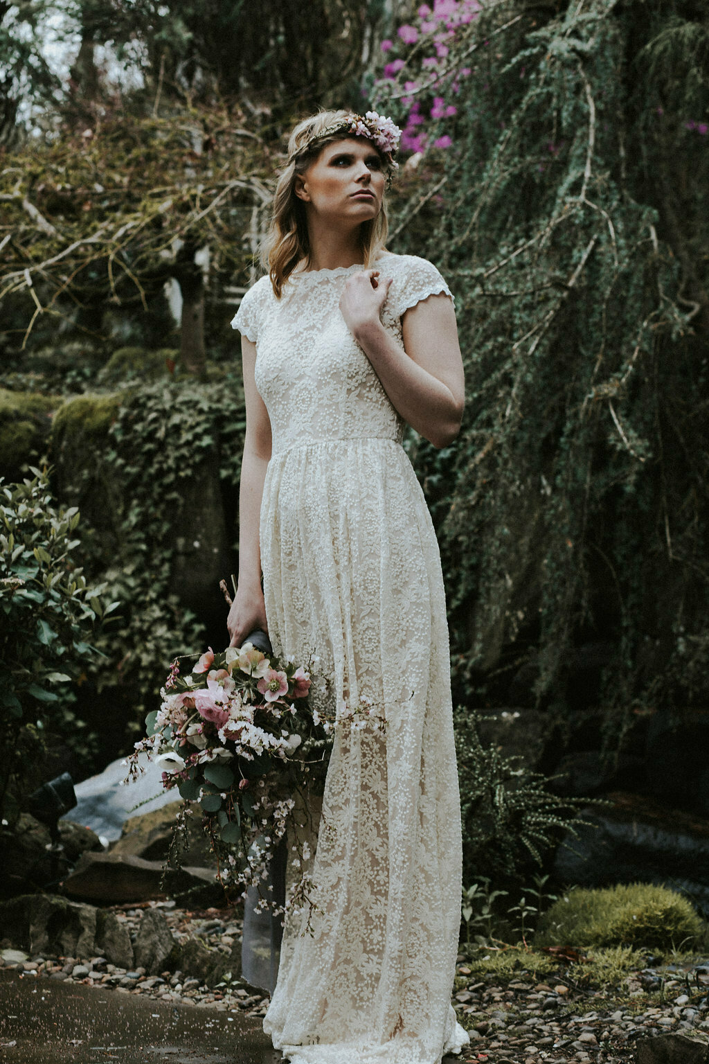Simple Lace Low Back Wedding Dress | Dreamers and Lovers