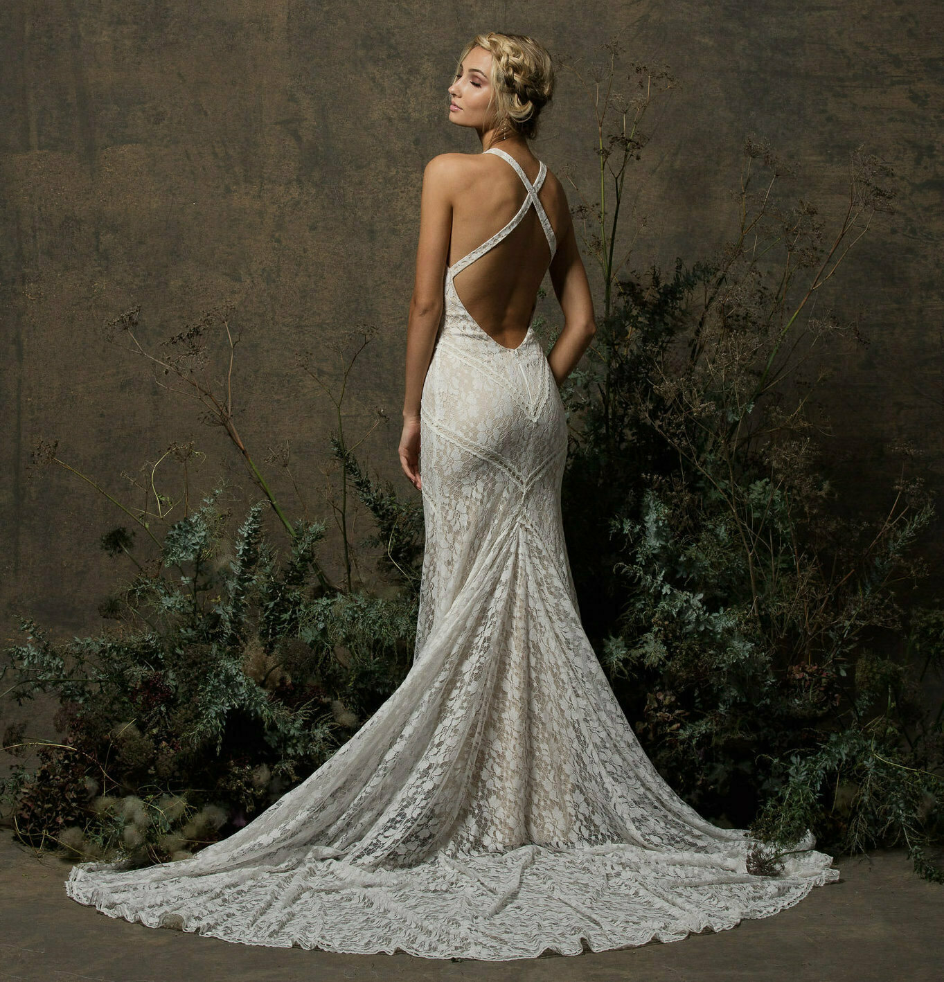 Backless Wedding Gowns: Dita Backless Boho Lace Wedding Dress
