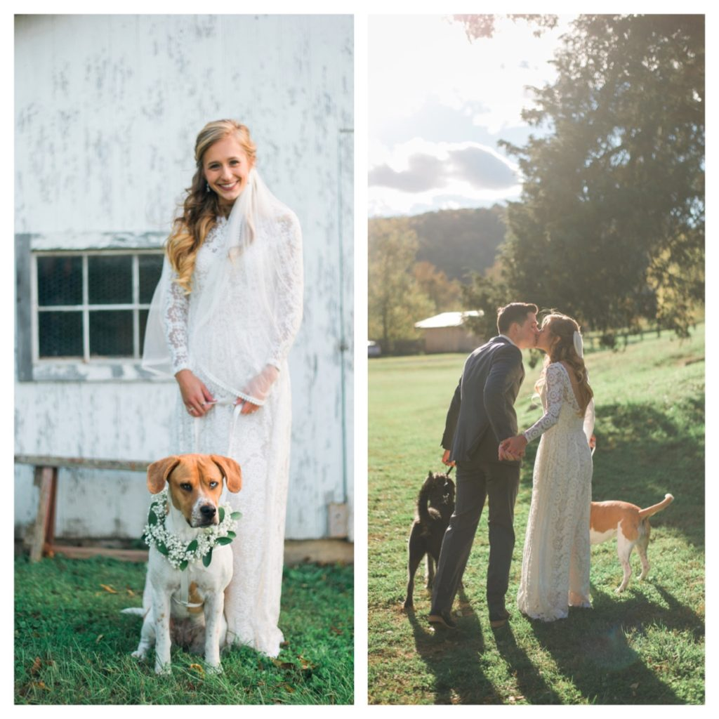 laura-and-hubby-ryan-at-their-laidback-bohemian-wedding-celebration-with-their-dogs