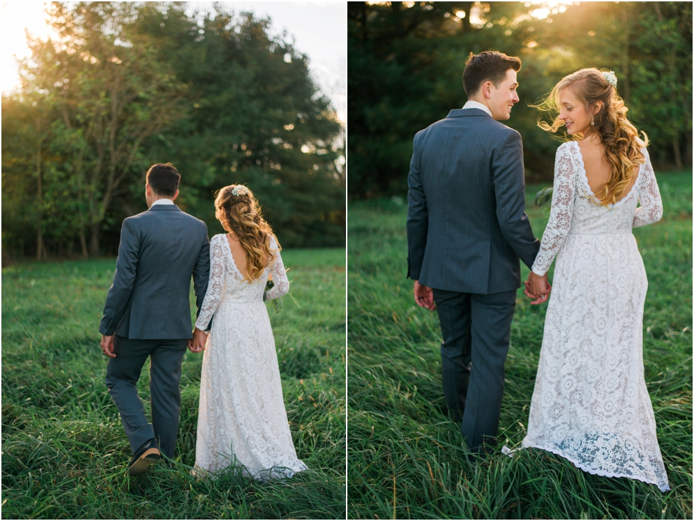a-bohemian-wedding-in-Virginia-at-an-idyllic-lakeside-venue-bride-wears-a-simple-and-elegant-lace-boho-wedding-dress