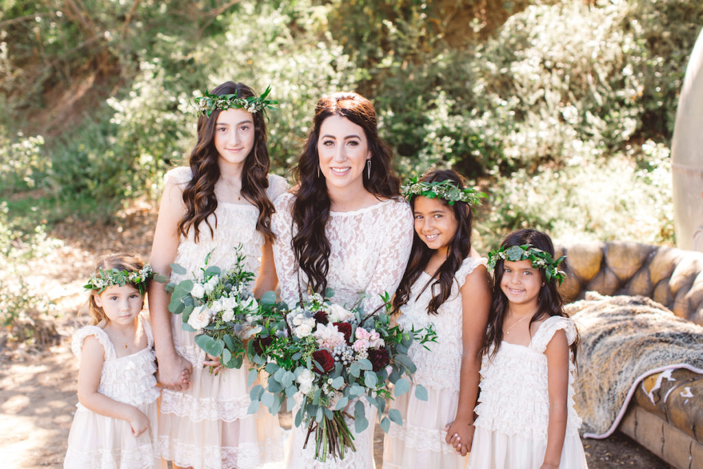 a-bohemian-bride-at-her-california-ranch-wedding-here-with-her-flowergirls