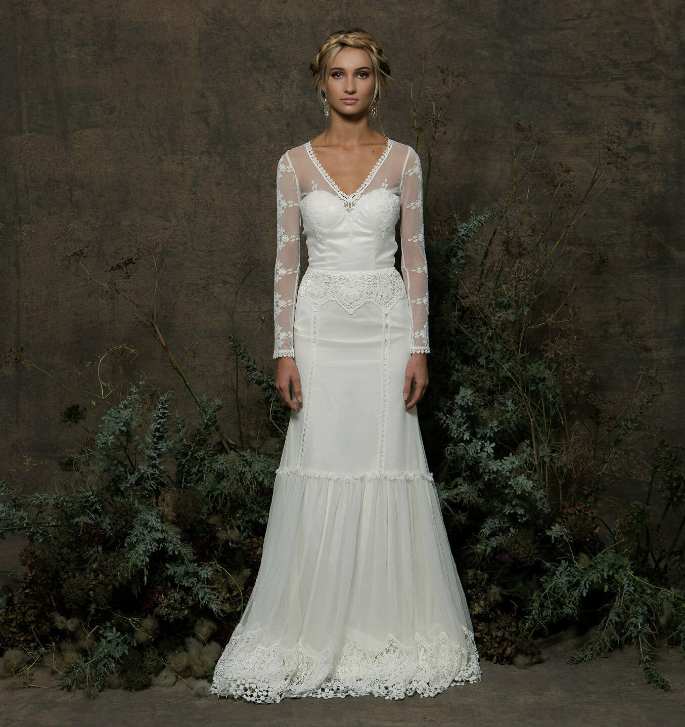 Olga Long Sleeve Lace Wedding Dress | Dreamers and Lovers