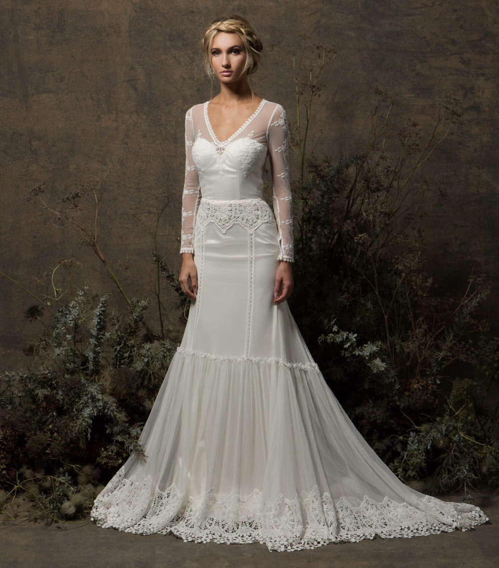 Lace Wedding Dress With Sleeves.Olga Lace Gown