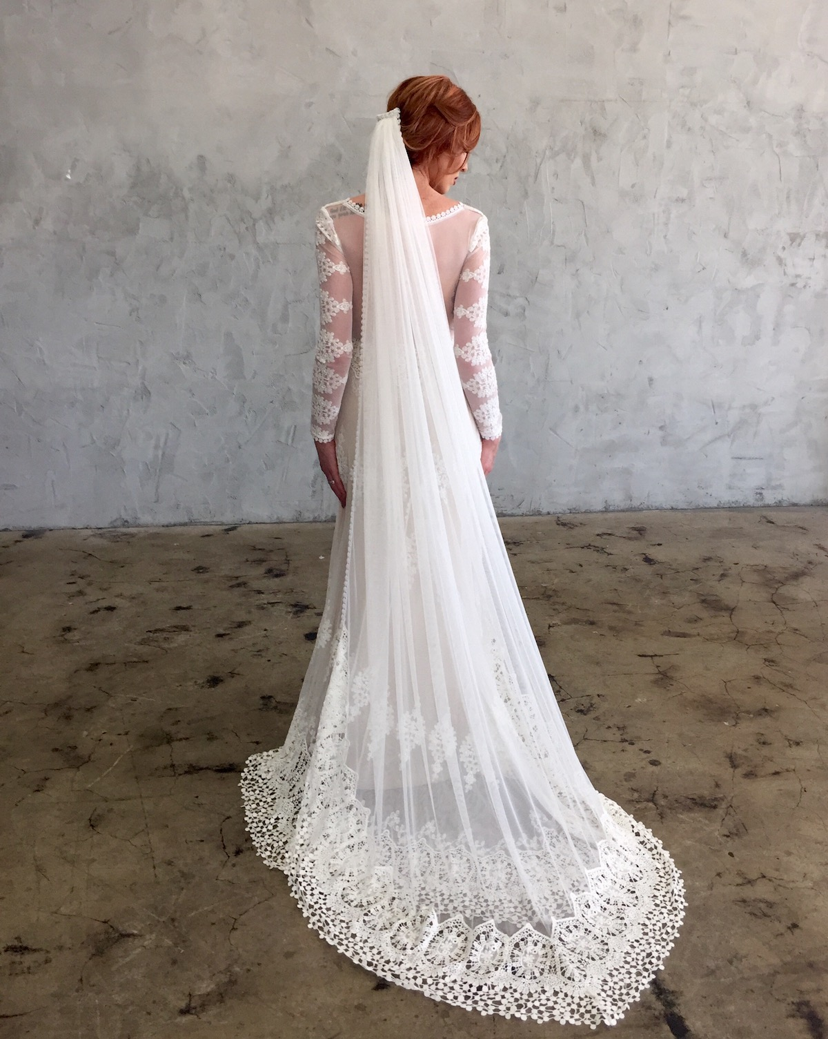 Julia Long Veil with Crochet Lace Trim | Dreamers and Lovers