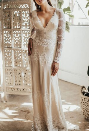 JULIA LACE GOWN - Long Sleeve Open Back Wedding Dress