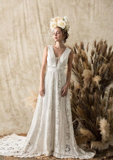 Elysia Lace And Silk Wedding Dress