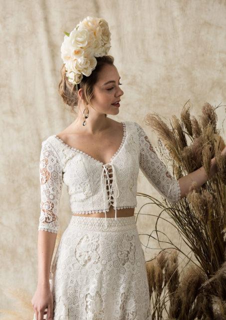 dela-boho-wedding-dress-long-sleeved-2-piece-with-fringed-hem-full-skirt