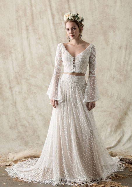 ophelia-two=piece-hippie-boho-wedding-dress-shown-with-the-bell-sleeve-top-in-contrasting-laces