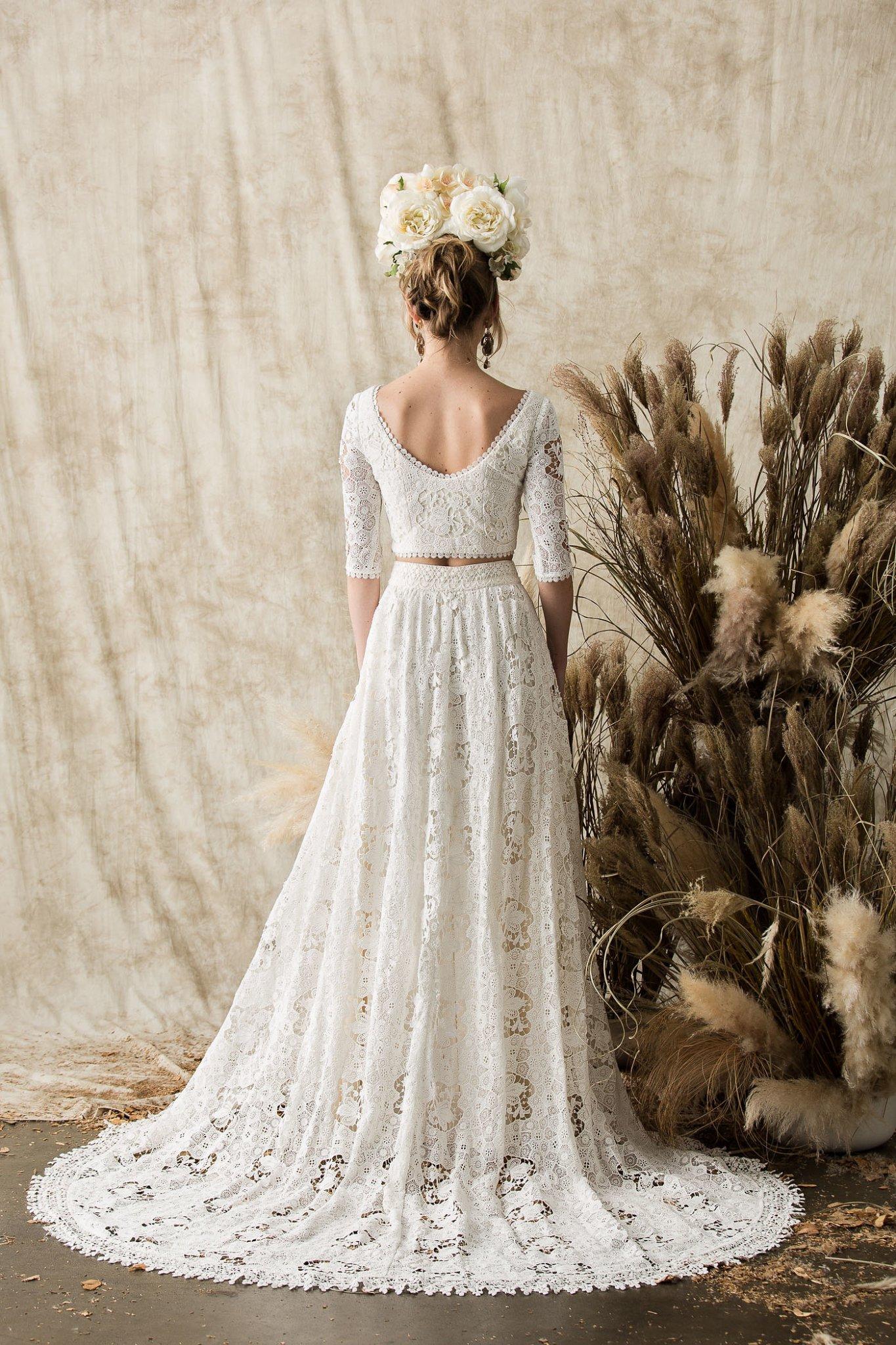 two-piece-cotton-lace-hippie-boho-chic-wedding-dress