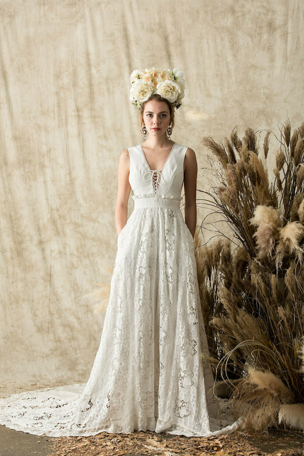 Elysia Lace And Silk Wedding Dress