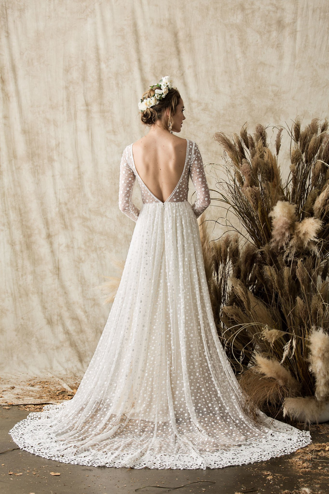 Miranda long sleeve lace wedding dress dreamers and lovers low back lace wedding dress featuring full skirt junglespirit Choice Image