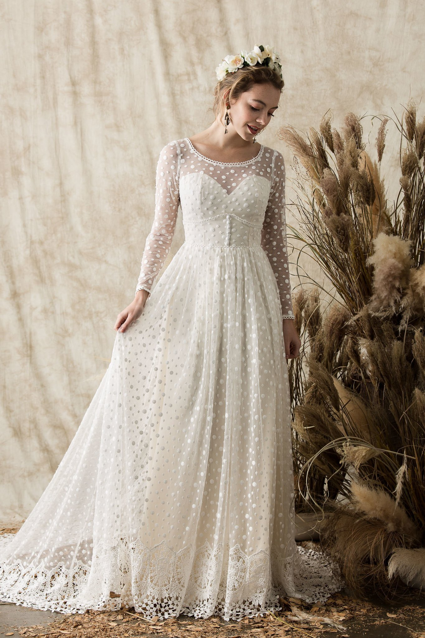 Miranda Lace Gown With Full Skirt Long Sleeves