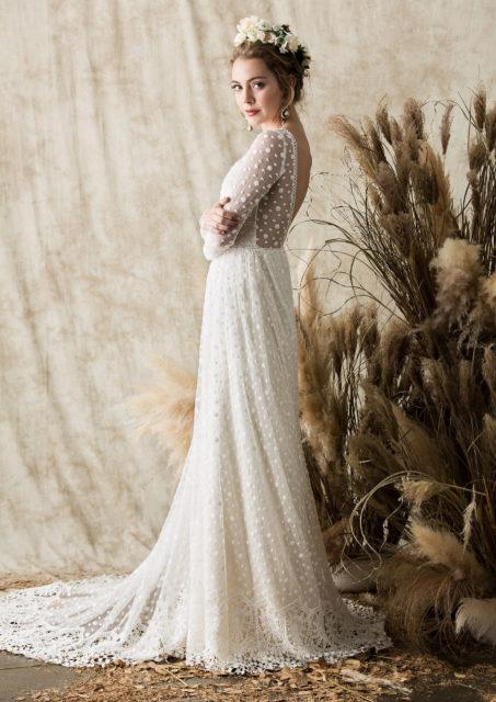 Miranda Dotted Lace Long Sleeved Wedding Dress