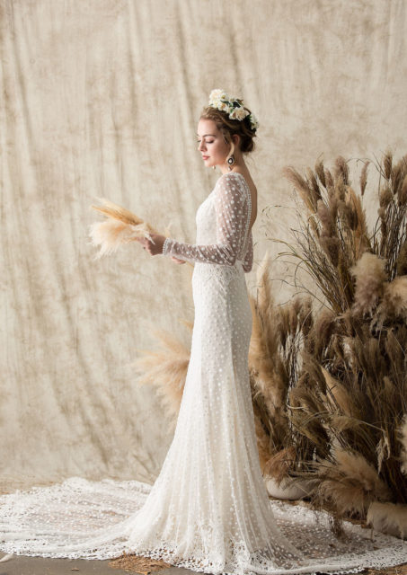 vivienne lace gown side view