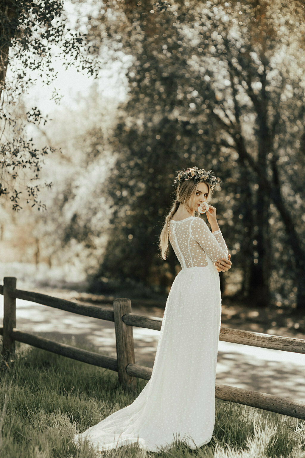 dreamers-and-lovers-whimsical-simple-wedding-dress-in-cotton-dotted-lace-fitted-long-sleeves