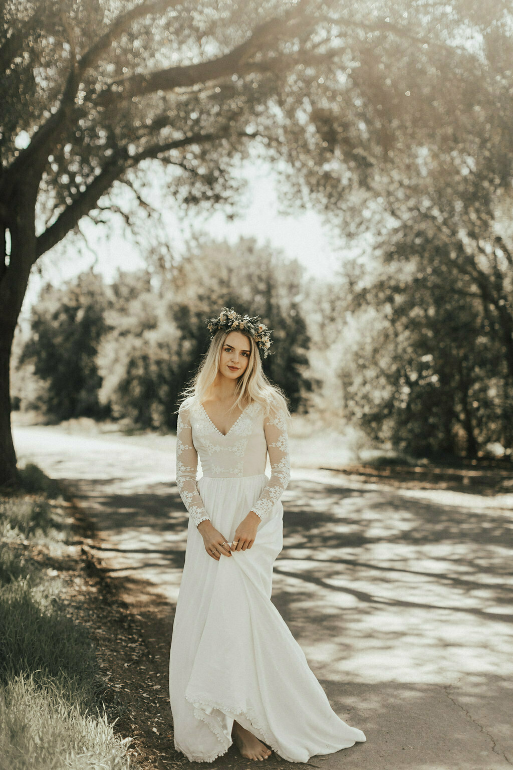 Chloe Lace And Silk Boho Wedding Dress Dreamers And Lovers