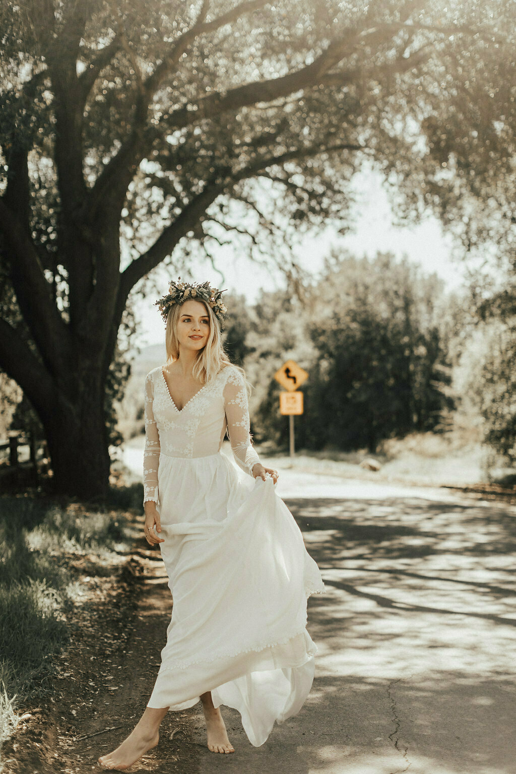 simple-wedding-dress-with-long-sleeves-sheer-open-back-v-neckline-bohemian-bride