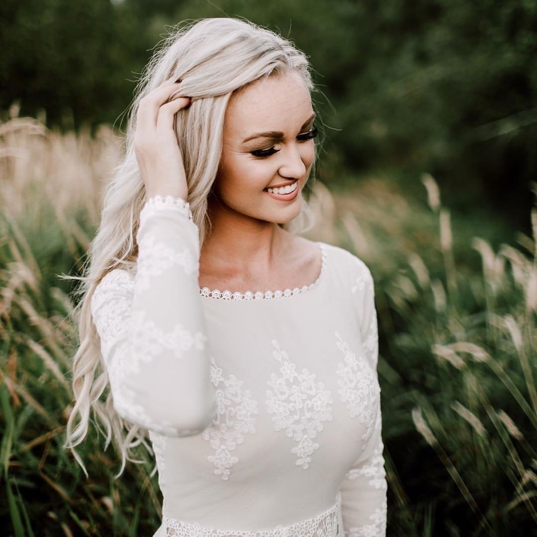 Lisa Lace Boho Modest Wedding Dress | Dreamers and Lovers
